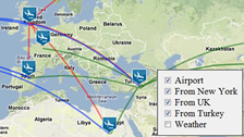 flight route map, travel map, display, hide map overlay layers