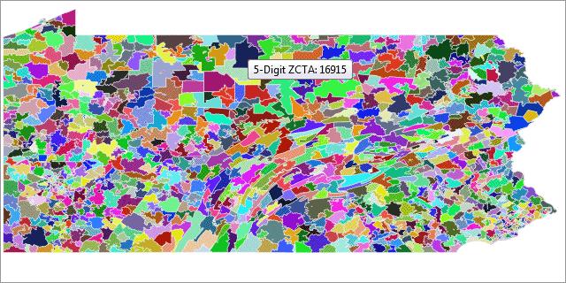 HTML5 Zip Code Tabulation Area Map Sample (U.S. ZCTA)